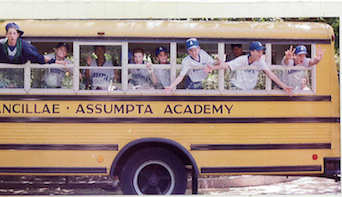 An Ancillae-Assumpta Academy bus full of students